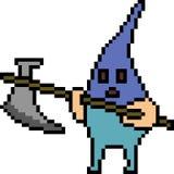 Vector pixel art monster murderer. Isolated Royalty Free Stock Photo