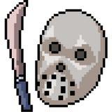 Vector pixel art murderer mask. Isolated cartoon stock illustration