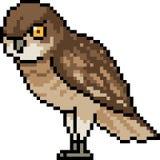 Vector pixel art owl look Royalty Free Stock Photo
