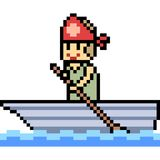 Vector pixel art paddler. Isolated Stock Images