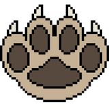 Vector pixel art paw. Isolated Royalty Free Stock Images