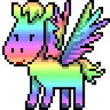 Vector pixel art pegasus rainbow. Isolated cartoon royalty free illustration