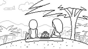 Vector pixel art picnic Royalty Free Stock Photography