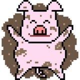 Vector pixel art pig.  Royalty Free Stock Photography