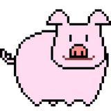 Vector pixel art pig.  Royalty Free Stock Images