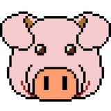 Vector pixel art pig. Isolated Royalty Free Stock Photos