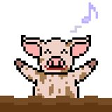 Vector pixel art pig play mud. Isolated Royalty Free Stock Image