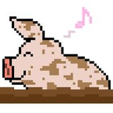 Vector pixel art pig play mud. Isolated Royalty Free Stock Photos