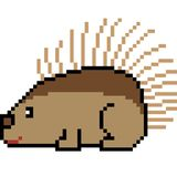 Vector pixel art porcupine. Isolated Royalty Free Stock Photo