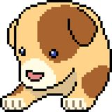 Vector pixel art pup doll. Isolated cartoon Royalty Free Stock Photo