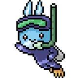Vector pixel art rabbit dive. Isolated cartoon stock illustration