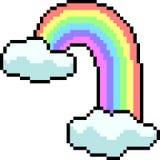 Vector pixel art rainbow cloud. Isolated cartoon stock illustration