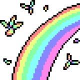 Vector pixel art rainbow. Isolated cartoon vector illustration