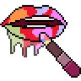 Vector pixel art rainbow lipstick. Isolated stock illustration