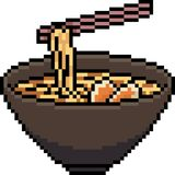 Vector pixel art ramen noodle vector illustration