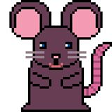 Vector pixel art rat. Isolated Royalty Free Stock Photography