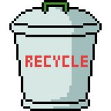 Vector pixel art recycle bin royalty free illustration