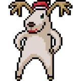 Vector pixel art reindeer santa. Isolated cartoon vector illustration