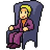 Vector pixel art rich man sit. Isolated cartoon Stock Image