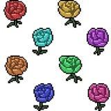 Vector pixel art rose.  Stock Image