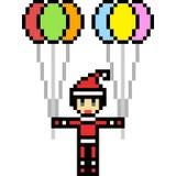 Vector pixel art santa balloon Royalty Free Stock Photos
