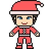 Vector pixel art santa boy Royalty Free Stock Images