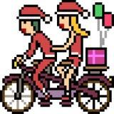 Vector pixel art santa claus bicycle. Isolated cartoon royalty free illustration
