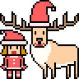 Vector pixel art santa deer Royalty Free Stock Image
