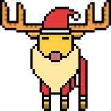 Vector pixel art santa deer Royalty Free Stock Photos