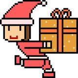 Vector pixel art santa gift box Royalty Free Stock Images