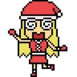 Vector pixel art santa girl Royalty Free Stock Photos