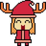 Vector pixel art santa girl Stock Photography