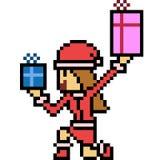 Vector pixel art santa girl Royalty Free Stock Photography