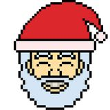 Vector pixel art santa head Royalty Free Stock Photos