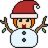 Vector pixel art santa kid Stock Images