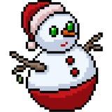 Vector pixel art santa snowman. Isolated cartoon stock illustration