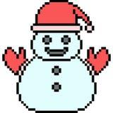 Vector pixel art santa snowman Royalty Free Stock Image