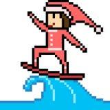 Vector pixel art santa surf Royalty Free Stock Photos