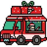 Vector pixel art santa truck Stock Photos