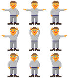 Vector pixel art - set of gesticulating people. Vector pixel art - a set of gesticulating little people on white Royalty Free Stock Photo