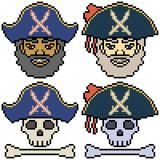 Vector pixel art set pirate. Isolated Royalty Free Stock Images