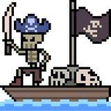 Vector pixel art skeleton pirate Stock Photo