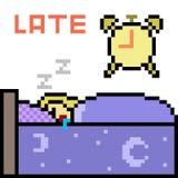 Vector pixel art sleep late Royalty Free Stock Photo