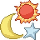 Vector pixel art star set. Isolated cartoon royalty free illustration