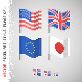 Vector, pixel art style color flag set Royalty Free Stock Photography