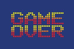 Vector pixel art style game over message. Isolated royalty free illustration