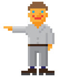 Vector pixel art style man with pointing hand gest. Ure on white background Stock Images