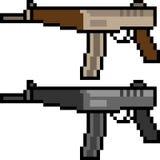 Vector pixel art submachine gun Stock Photography
