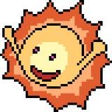 Vector pixel art sun. Isolated cartoon royalty free illustration