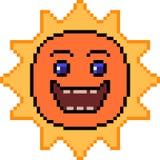 Vector pixel art sun smile. Isolated Stock Photography